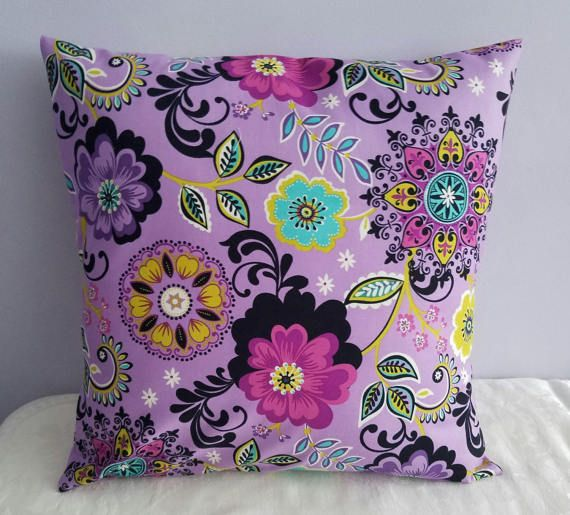 16 X 16 Purple Flower Thow Pillow/boho Chic Pillow/mexican Throw Pillow/purple  Patio Pillow/purple Dorm Pillow/purple Chair Pillow/bohemian