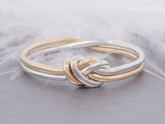 Amor anillo nudo, anillo de oro y plateado, anillo de promesa, anillo compromiso, anillo de compromiso, anillo de náutica