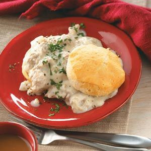 I've always loved Taste of Home. This is from them -->Home-Style Sausage Gravy and Biscuits