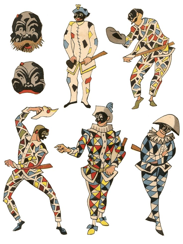Commediadellarte_Arlecchino This explains who arlecchino is, by his mask, his stance ,and his costume