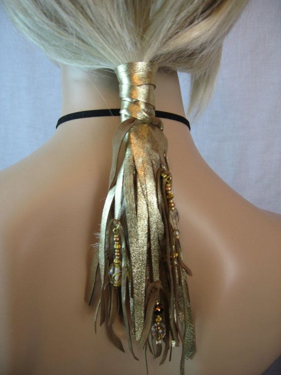 Feather Fringe Hair Extensions, GOLD Leather Ponytail Holder Beaded wraps, BOHO Hair Jewelry