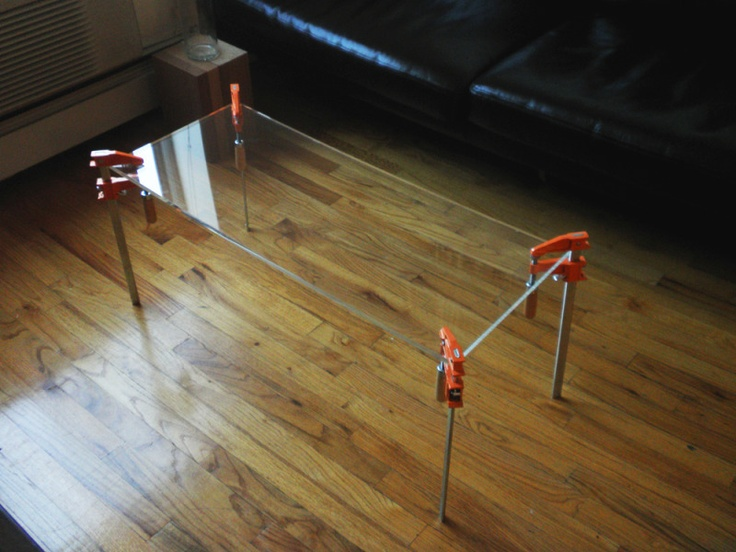 Another clamp table, interesting invisible tabletop not