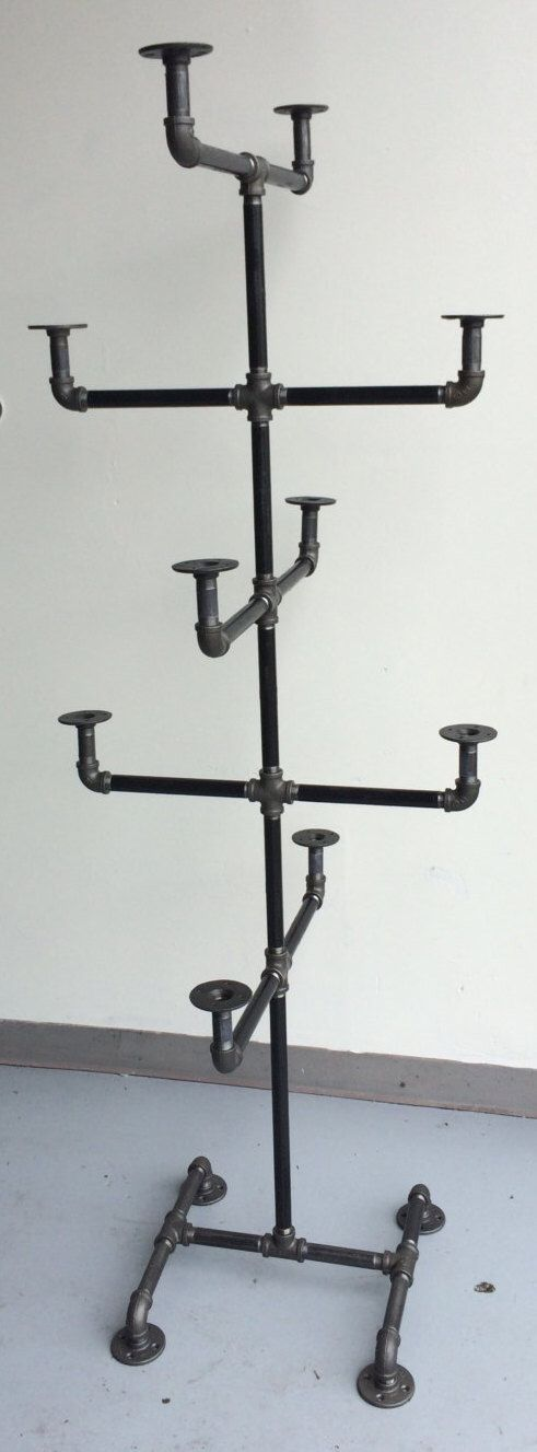 Heavy Duty Pipe Hat Rack - Hat Stand - Industrial Style Hat Rack - Black Clothing Rack - Hat Storage by WilliamRobertVintage on Etsy https://www.etsy.com/listing/247885818/heavy-duty-pipe-hat-rack-hat-stand