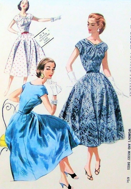 1950s Beautiful Day or Cocktail Party Dress Pattern McCalls 3577 Vintage Sewing Pattern Striking Twisted Neckline Fit n Flare Full Skirt Bust 36