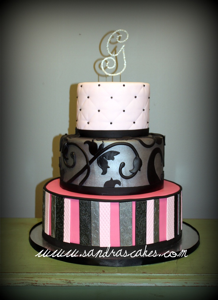 Pink, Black, Silver Wedding CakePhotos, Silver Wedding Cake, Cake Ideas, Sandra Cake, Wedding Cakes, Pink Black Silver Wedding, Limes, Cake Alot, Purple Aqua