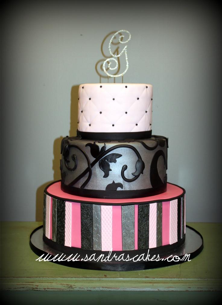 Pink, Black, Silver Wedding Cake: Cakes Alot, Pink Black Silver Wedding, Cakes To Die, Sandra Cakes, Purple Aqua, Silver Wedding Cakes, Photo, Parties Cakes, Birthday Cakes To