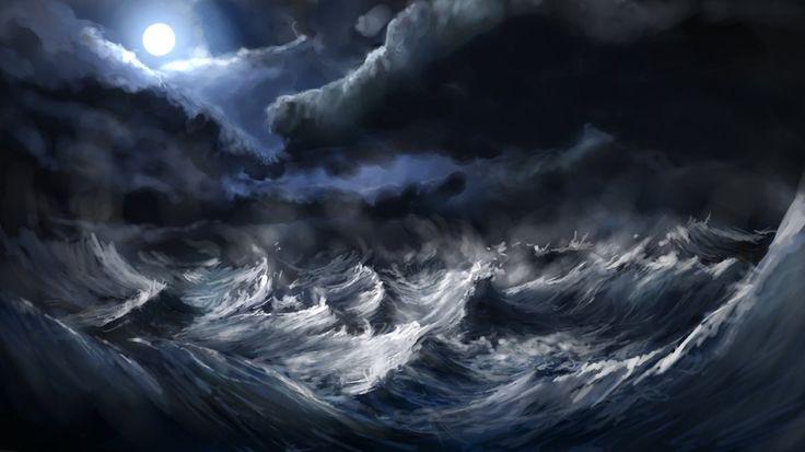비바람이 부는 바다