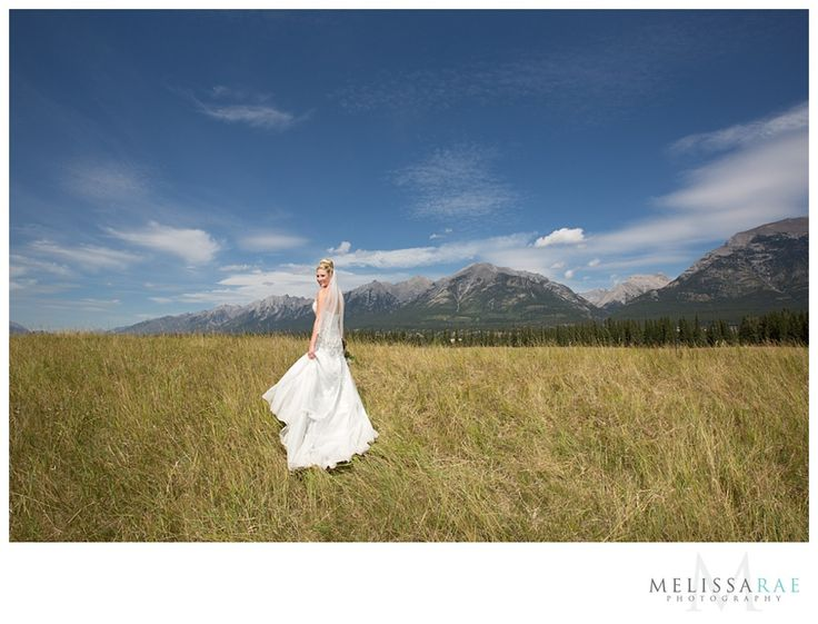 bridal portrait, canmore mountain wedding
