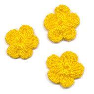 Gehaakt bloemetje kanarie geel 20 mm (10 stuks)