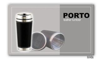 Porto Tumbler:    Size: 18.5 x 6.5 x 6.5cm, Capacity: 450ml. Color: Silver (Black Leather) a synthetic leather. Comfortable to hold and very exclusive for hotel souvenirs