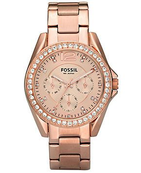 Fossil Watch, Women's Riley Rose Gold Plated Stainless Steel Bracelet 38mm ES2811 - Watch Brands - Jewelry & Watches - Macy's