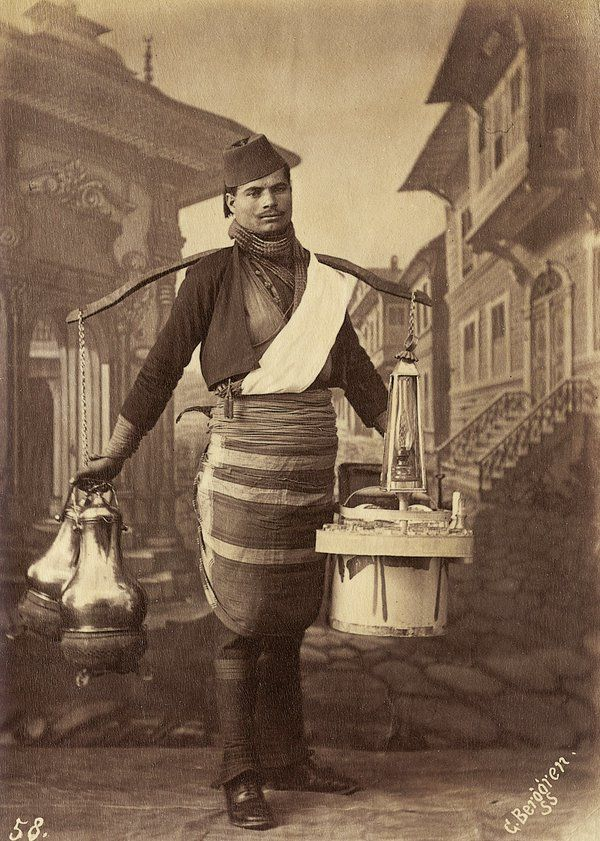 ✿ ❤ A Tea Seller, Istanbul, 1870s (Bir Osmanlı Seyyar Çaycı)