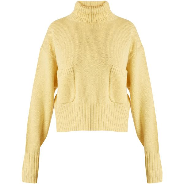 Roll-neck patch-pocket cashmere sweater Chloé MATCHESFASHION.COM (€1.010) ❤ liked on Polyvore featuring tops, sweaters, roll neck top, roll neck sweater, pure cashmere sweaters, rollneck sweaters and cashmere top