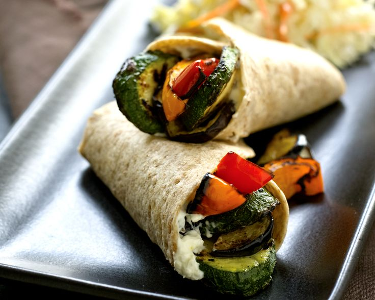 Grilled Vegetable Wraps with Creamy Coleslaw: This quick and easy dinner is a great way to use up leftover grilled or roasted veggies! #KidsCookMonday #MeatlessMonday