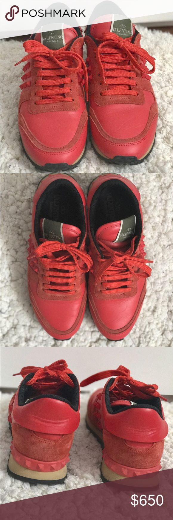 Valentino rockstud sneaker Beautiful red leather sneaker with beige rubber midsole. Black threaded rubber outsole. Fit true to size and very comfy. Size: 39. Come with original dust bag and valentino box. Valentino Shoes Sneakers