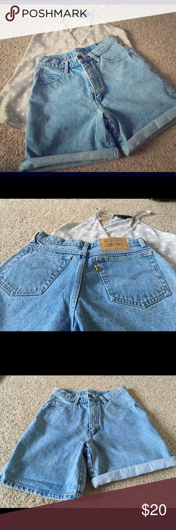 Rolled Levi's shorts high-waist light wash size 7 Original Levi's shorts with original hem. High-waist with a light wash, these look great with light colored tops and canvas shoes. This pair is a size 7 and, like most Levi's, fits a bit small. Levi's Shorts Jean Shorts