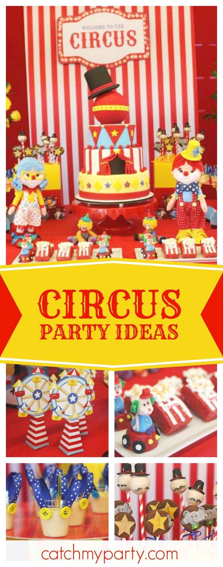 Don't miss this awesome Circus birthday party! The cake pops are so much fun!! See more party ideas and share yours at CatchMYParty.com #cakepops #circus