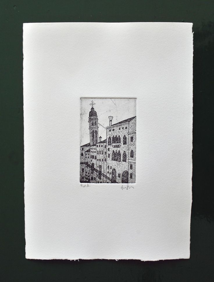 This copperplate etching represents the San Giorgio dei Greci Belltower (http://en.wikipedia.org/wiki/San_Giorgio_dei_Greci) Copperplate etching on copper matrix. The techniques used are: – Aquaforte etching, to get the lines of the drawing – Aquatint, to get the nuances and give a sense of depth. Printed with copperplate black ink on rosaspina paper. It can be printed on white or ivory paper (see the different kind of paper here)