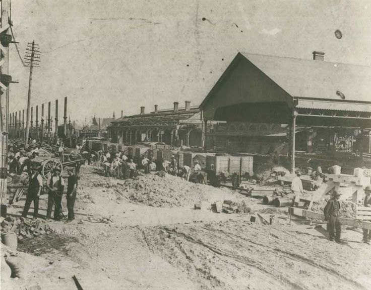 Central Railway Station - construction, c.1902 Construction work taking place for the building of Central Railway Station - Devonshire Street end, Sydney, 1902