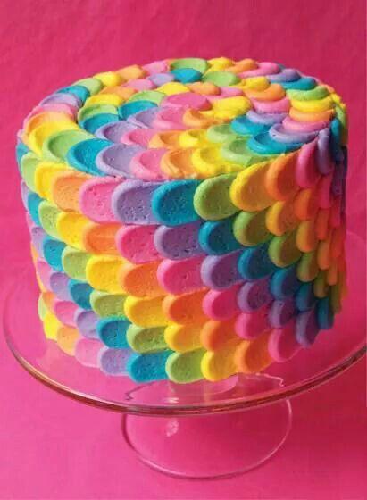 Wow! Soo cool! Rainbow Lisa Frank cake!