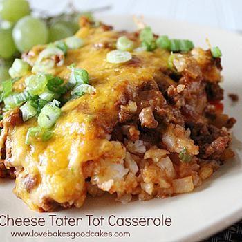 Chili Cheese Tater Tot Casserole: chili beef, cheese, tater tots. Taste like chili cheese fries