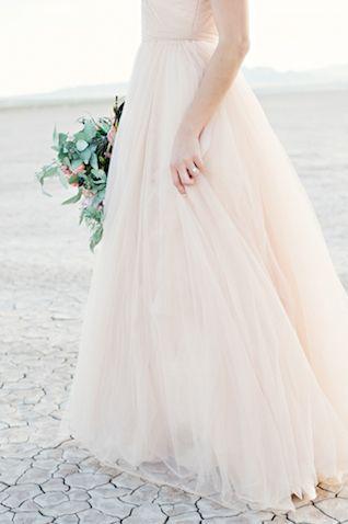 Blush Reem Acra wedding dress | Kristen Joy Photography