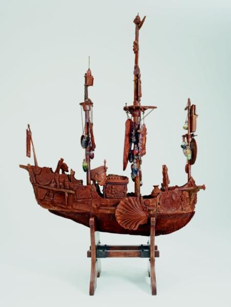Part of grayson perry's 'the tomb of the unknown craftsman'. interesting ship container of objects from many cultures...