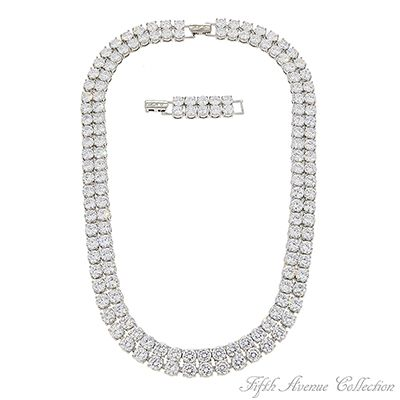 """""""2x Gorgeous""""  A double row of AAA quality cubic zirconia meets all expectations for the woman who appreciates fine fashion jewellery.  Scrumptiously crafted to take her well into the future with its stunning minimalist look.    18"""" neckpiece with 1.5"""" extension  Nickel and lead free  £174"""