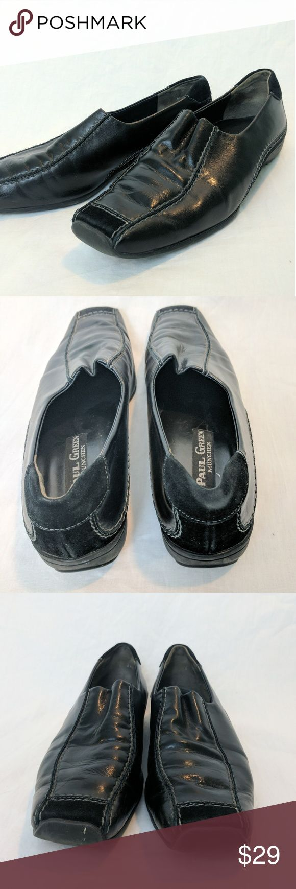 """Paul Green Munchen Lucy loafers These pre-loved loafers from Paul Green show wear consistent with use, creasing, discoloration, and scuffs. I think they would be great for driving shoes.  Black synthetic sole, black leather upper  Grey contrast stitching  Made in Austria  UK Size 5 - Appx US Size 7.5  Appx 1"""" heel Paul Green Shoes Flats & Loafers"""
