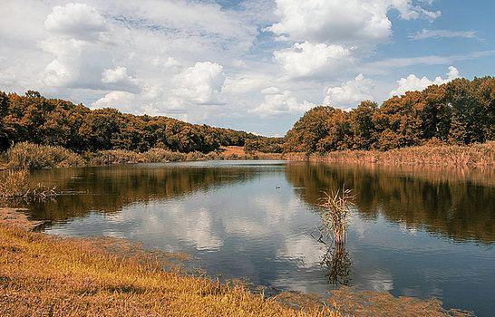 Autumn at the lake by Natalya Antropova #NatalyaAntropova#andscape#ArtDecor#HomeDecor