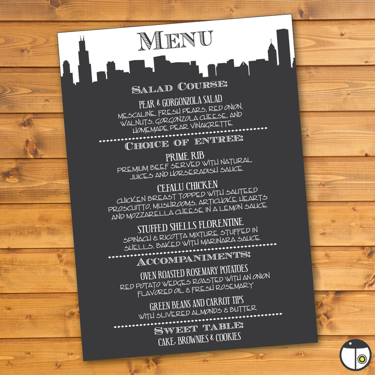 Printable Skyline Menu  Customized for your by LadybugPixels, $20.00