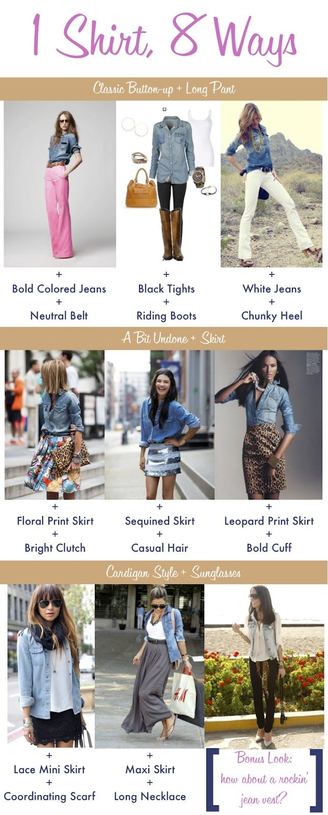 Some ways to wear a denim chambray shirt.