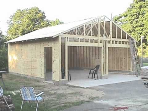 Step by step pictures of me building a 24X24 garage. If you're interested in building one yourself, check it out. Clip shows steps involving how to pour footings, walls, floors and framing. Installing trusses, etc. Just for the home builder.