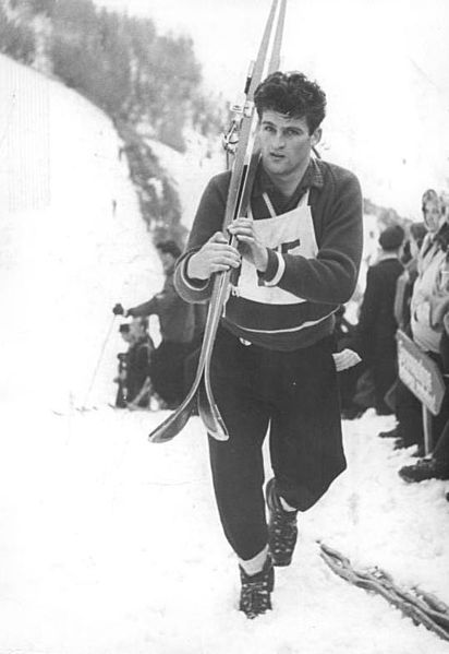 Helmut Recknagel at a ski jumping event at the 1960 Squaw Valley Winter Olympics.