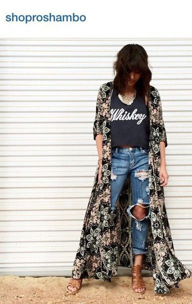 jacket kimono duster throw over rocky barnes boho boho chic bandit brand whiskey festival fashion trendy hipster one teaspoon ripped jeans cleobella