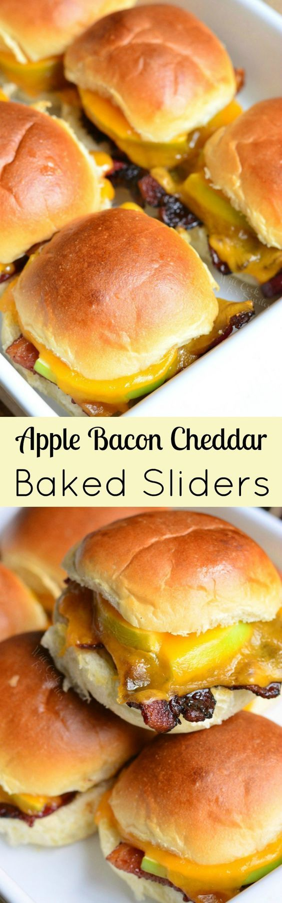Apple Bacon Cheddar Baked Sliders ~ these little baked sliders are easy to make and pack with the delicious flavor combination of brown sugar, crispy bacon, apples, and cheddar!