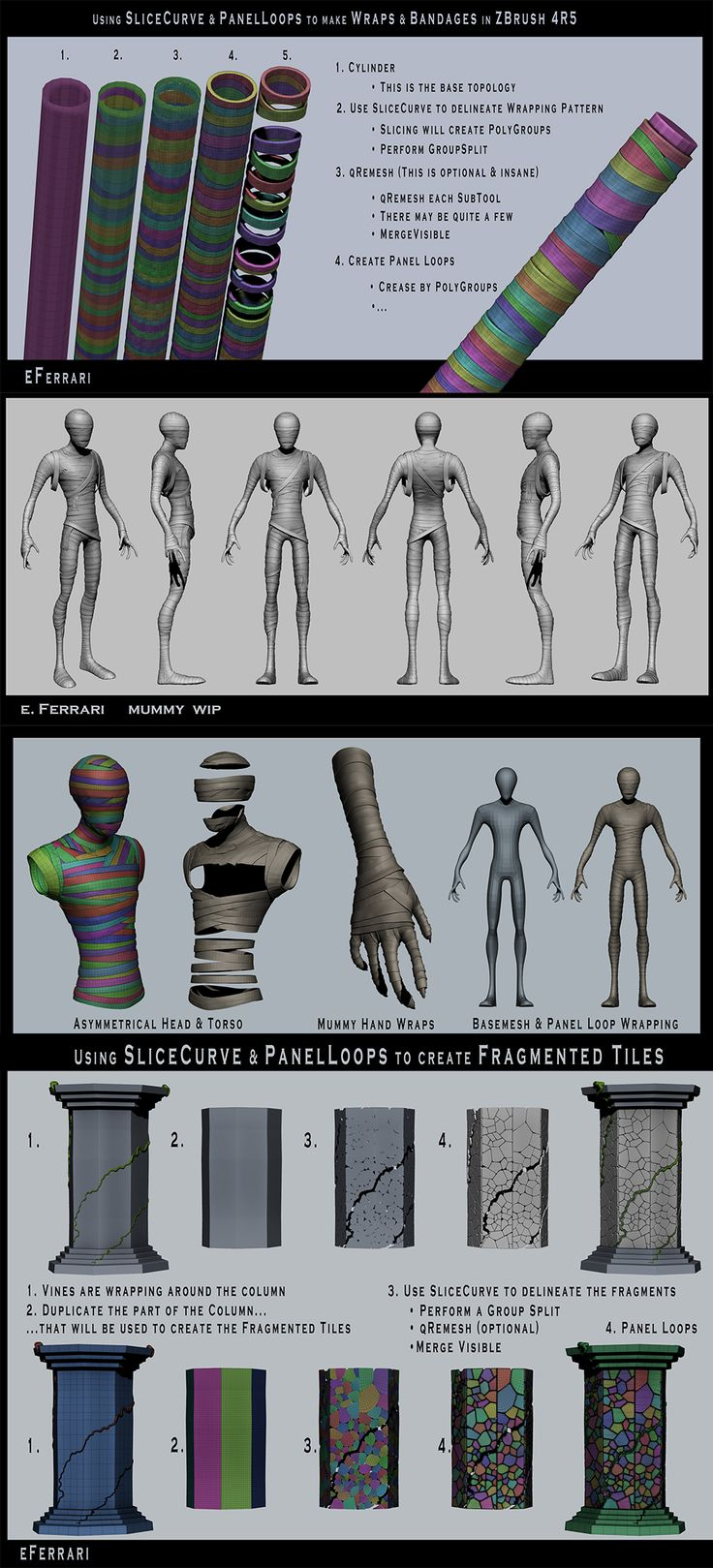 Zbrush wraps and cracks tutorial, slice tool