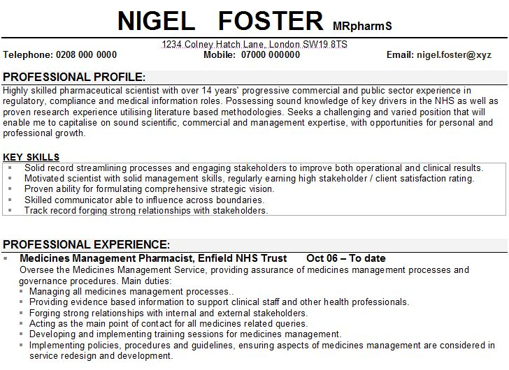 Sample CV for teachers Un Poco de Todo A little bit of - hospital pharmacist resume