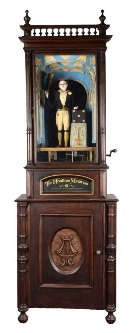 Coin Op French Headless Magician Automaton   When An English Penny Is  Dropped In The