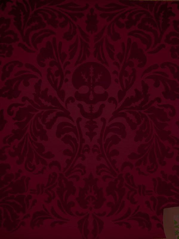 Senor Skullingwell Flock Velvet Burgundy Red Raisin Velvet Wallpaper Burgundy Aesthetic Burgundy Walls