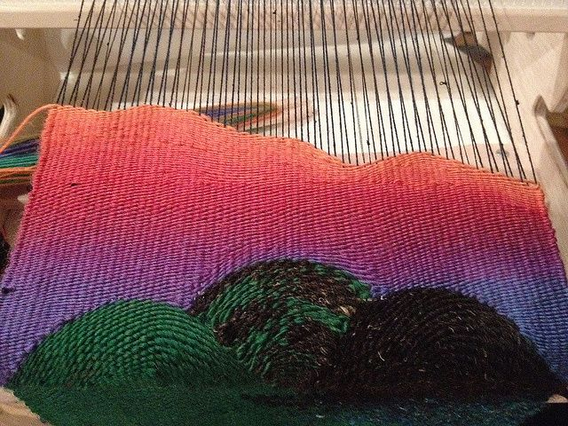 Weaving Landscapes (or just curves) | Ariadne's Thread and Arachne's Tapestry. Tapestry techniques I think on a Saori-type loom.