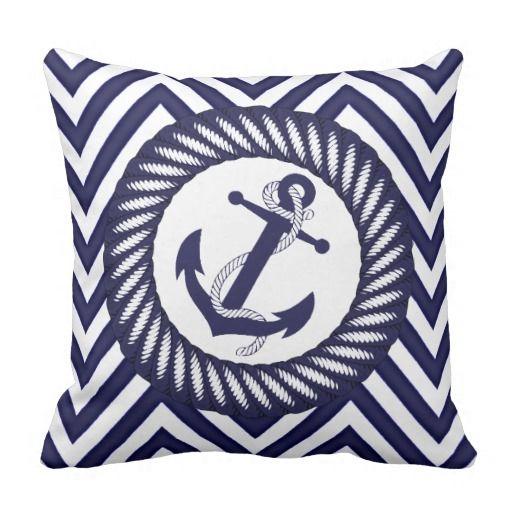 Chic Blue Anchor Zigzag Chevron Pattern Throw Pillow