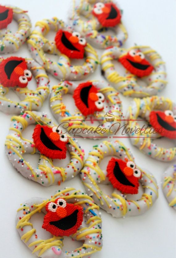 Buy Online! Perfect dessert and/or party favors for your Elmo themed birthday party or Sesame Street themed party! Delicious Chocolate dipped Pretzel Rods, dipped in yellow chocolate with red chocolate drizzle and colorful rainbow sprinkles!