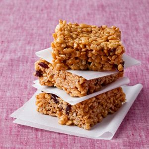 This healthy version of crispy rice cereal bars uses brown rice cereal, natural peanut butter, honey instead of corn syrup, and dried cherries.   With 2 grams of fiber per bar, you don't have to feel guilty about indulging.