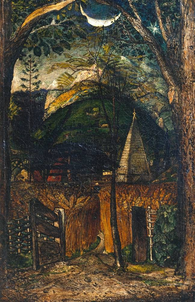 Samuel Palmer A Hilly Scene circa 1826-8 Watercolour and gum arabic on paper on mahogany support: 206 x 137 mm