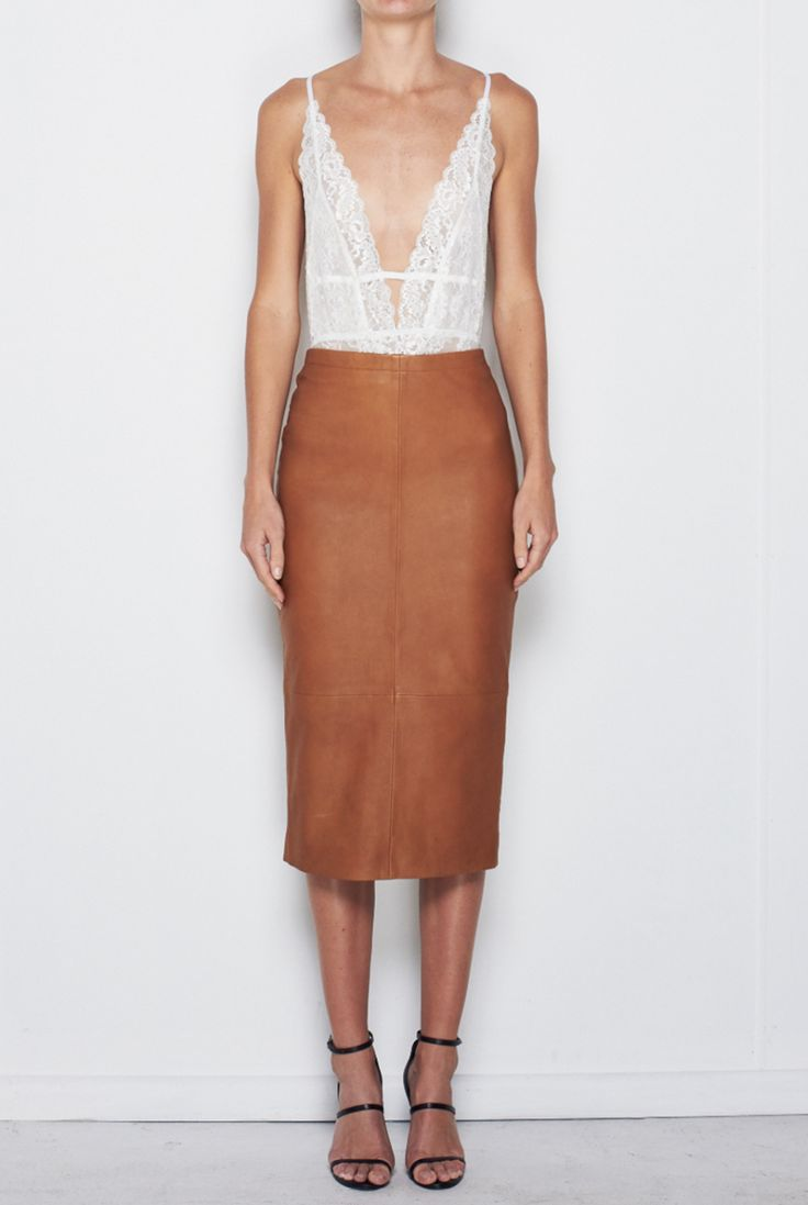 MLM THE LABEL - Winter Leather Pencil Skirt In Camel