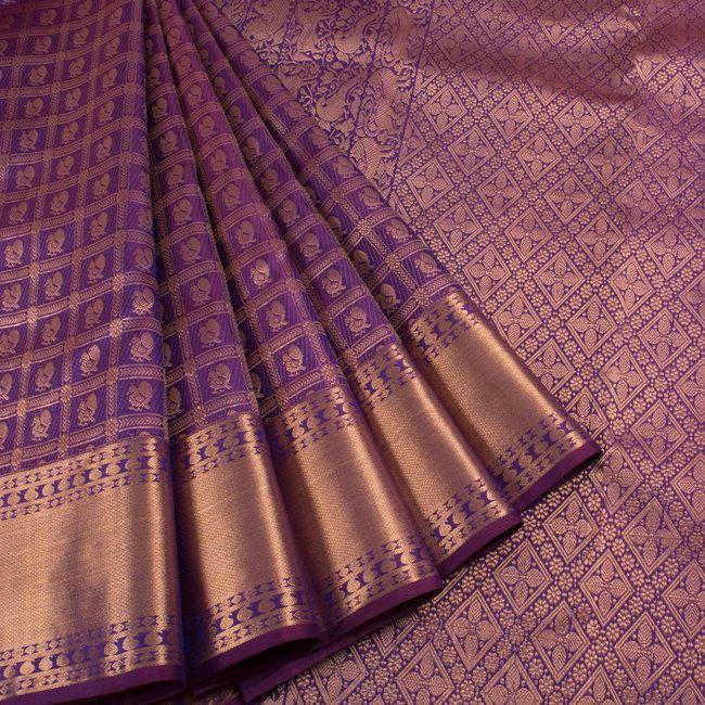 Handwoven Violet Kanjivaram Silk Saree With Checks & Hamsa Motifs 10012866 - creative - AVISHYA.COM
