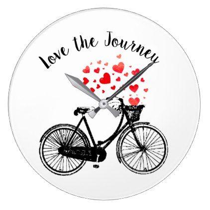Love the Journey Inspirational Vintage Bike hearts Large Clock - vintage heart gifts love hearts custom