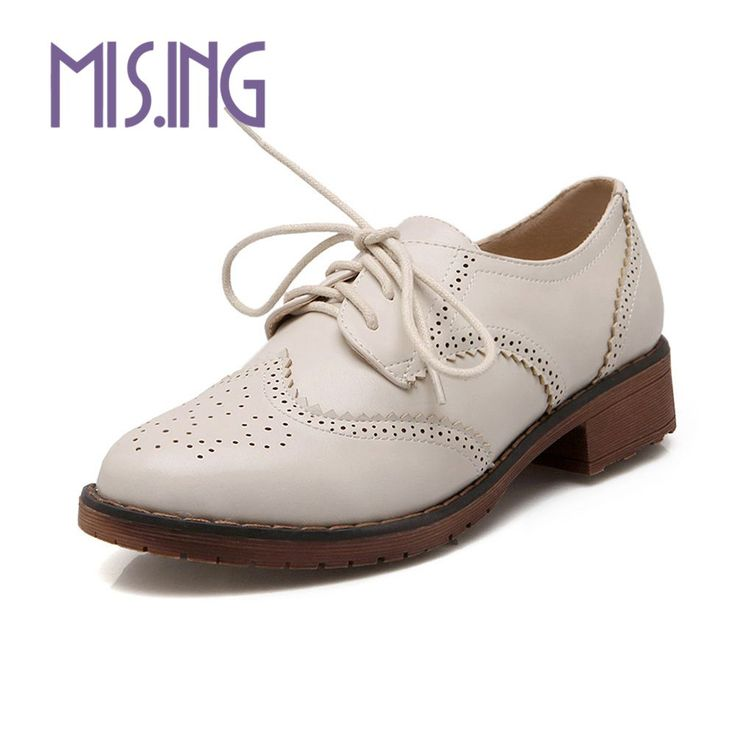 British style women shoes fashion Cut-Outs Lace-Up Brogue Shoes Round Toe Solid square heels Spring/Autumn Concise casual shoes
