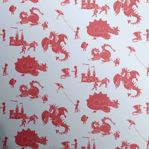 Blue Red Dragon Wallpaper for Children | Ere Be Dragons | PaperBoy Wallpaper for Kids Bedrooms